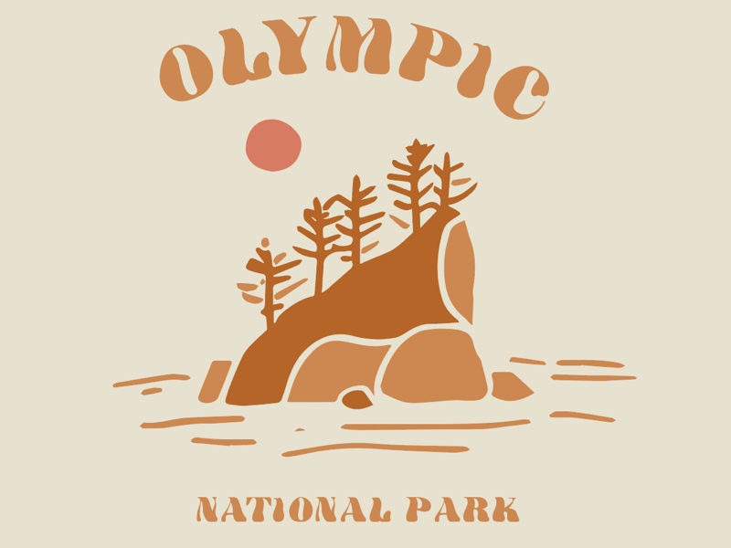 Olympic National Park washington pnw t shirt coast illustration outdoors nature olympic national park