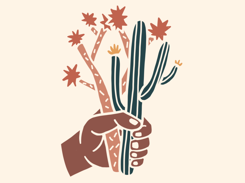 Desert Bouquet saguro joshua tree southwest nature design hand illustration drawing cactus desert