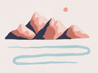 Pastel Mountain Range