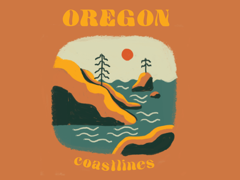 Oregon Coastline handdrawn merch design coastline roadtrip adventure outdoors travel illustration art drawing pnw oregon