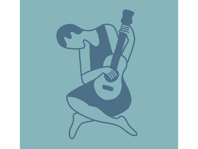Old man with guitar Picasso illustration