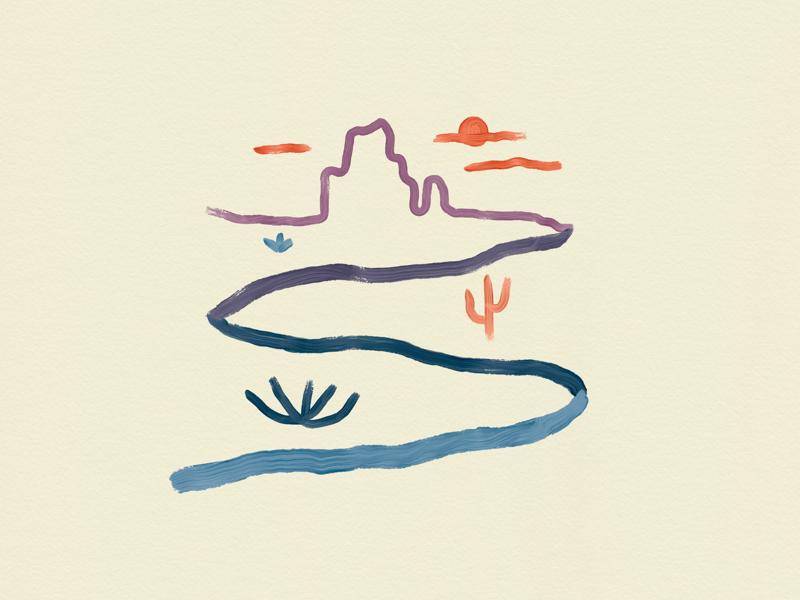 Streams in the Desert adobe sketch graphic t shirt apparel design graphic design utah nature simple drawing doodle cactus desert hope
