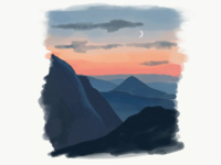 Sunset Layered Mountains (Digital Watercolor)