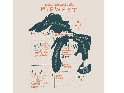Wild Places in the Midwest topographic map starved rock devils lake indiana michigan wisconsin illinois lake erie lake superior lake huron lake michigan great lakes illustration map midwest