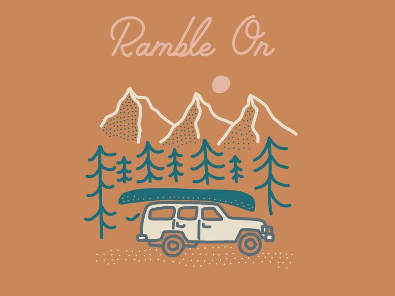 Ramble On (roadtrip illustration) forest nature traveling hiking camping line art mountains illustration idaho utah washington roadtrip
