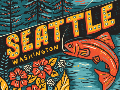 Detail shot of Seattle Drawing space needle mountains mt rainier city hand lettering retro puget sound salmon washington state travel poster pacific northwest pnw pikes place market seattle