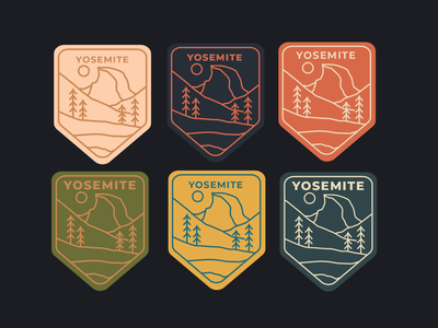 Yosemite Badges badge design travel vector patches half dome yosemite design mountains outdoors drawing nature illustration
