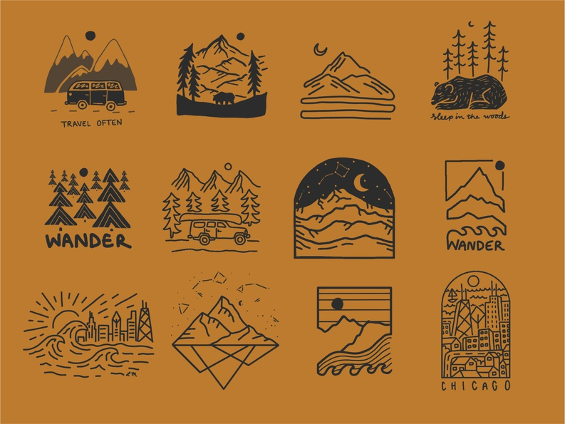 Design Round Up 2019 branding san diego california stars night sky mt rainier hiking mountains travel wanderlust bear city chicago colorado patagonia rei outdoor art t shirt design merch design illustration