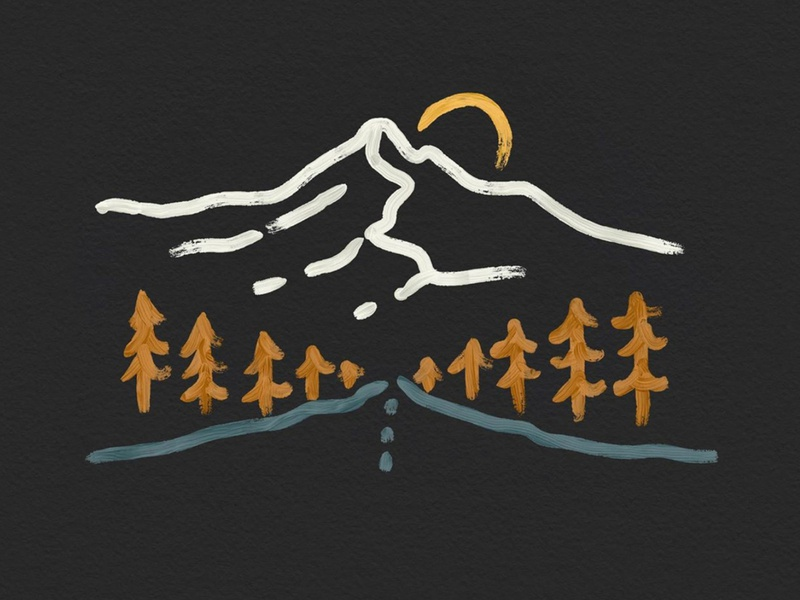 Mountain Lines colorado travel landscape hand drawn nature outdoors logodesign t shirt brush strokes paint brush simple line art illustration mountain