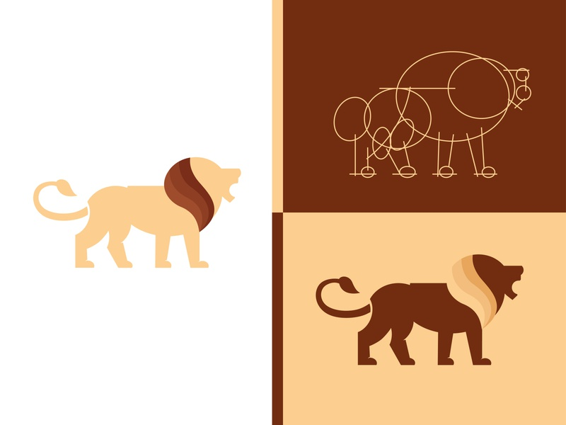 Ratio Lion royal black background head modern nature simple lion king isolated art wild logo icon design vector illustration sign animal symbol