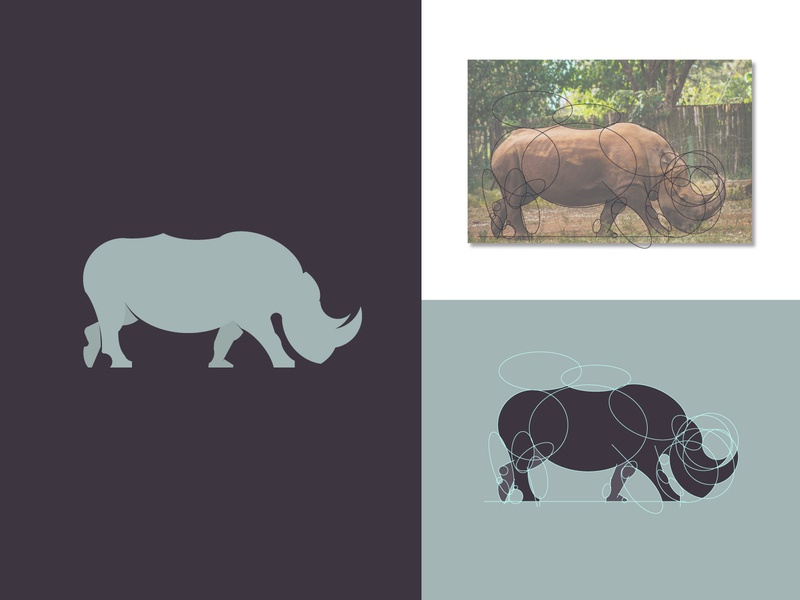 Rhino Grid logo zoo wild object shape mosaic template mammal graphic design grid silhouette vector emblem sign element animal logo illustration icon rhino symbol