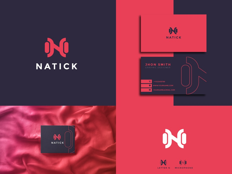 NATICA business element sign illustration modern symbol studio letter design technology record music font media icon sound audio vector logo microphone