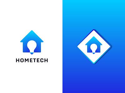 HomeTech ( Home + Bulb ) home logo branding logofolio logodesigner logodesign logotype negative space company idea connection icon business abstract modern design creative tech symbol technology logo