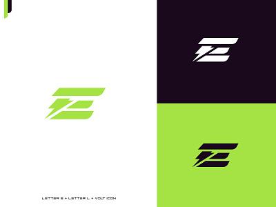 Monogram (letter E + Letter L + Volt icon) logobrand illustrator vector logomark graphic designer volt logo volt icon logo2021. logofolio creative modern