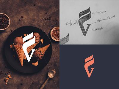Venchi (Italian ice cream brand) nextmahamud minimal branding design brandmark app icon custom logo letter logo lettermark letter v logo logo maker logo idea v letter design icecream logo logotype