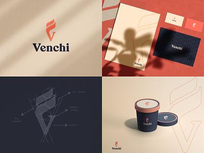 Venchi (Italian ice cream brand) bestlogo logomaker graphic design logomeaning logotype modern minimal customlogo monogram lettermark branding logodesign letter v idea design icecream logo