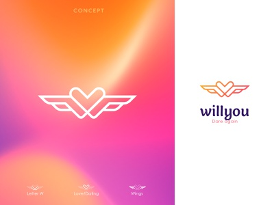 willyou (Dating app logo) brandpresentation lettermark modernlogo customlogo logodesigner branding logopresentation appicon wletter applogo monogram datinglogo love