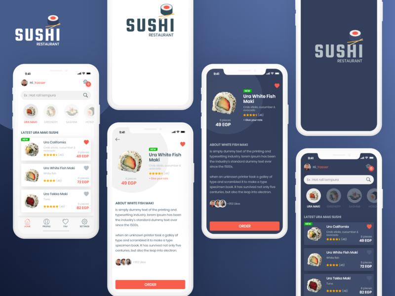 Sushi Restaurant inspiration ui  ux dark theme food app restaurant app sushi adobe xd clean design ios app design