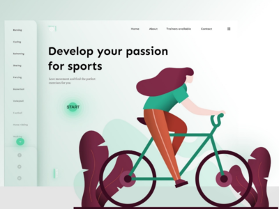 Green home page shadow flat illustration color green gradient ui design website