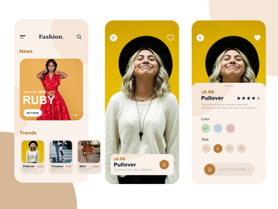 Fashion App app ui android fashion ios clean color clothing flat design