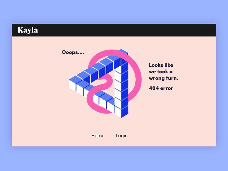 Kayla 404 page design design ux ui branding and identity illustration