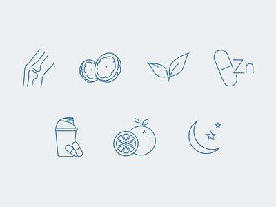 Supplement Icons outlined simple melatonin vitamin c workout zinc tea garcinia calcium icons supplement