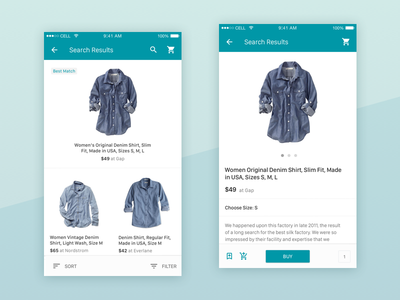 Search Results And Product Page shop search minimal clean material app mobile store green simple ios ecommerce