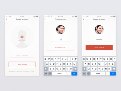 Unravel Signup Flow ui red minimal simple mobile registration interaction flow signup sign up app ios
