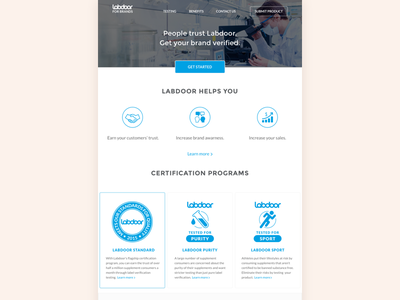Labdoor For Brands Landing Page home clean health healthcare blue simple landing landing page web enterprise certification lab