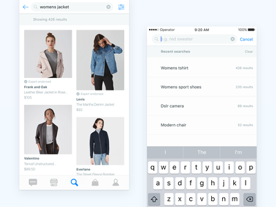 Operator Search Iteration fashion search simple clean mobile ios browse ecommerce grid cards