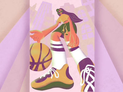 Dribbling 🏀 contest basketball player sports suit sport gerl dribbble invite dribbling invitation invite hyperbolic city sneakers ball texture noise procreate basketball flat 2d illustration illustration