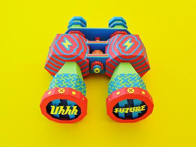 Uhhh Future (Paper Craft) paper art paper binoculars design colors sculpture type papercraft papercut