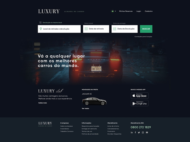 Luxury Car Rental Concept ui luxury car rental car service