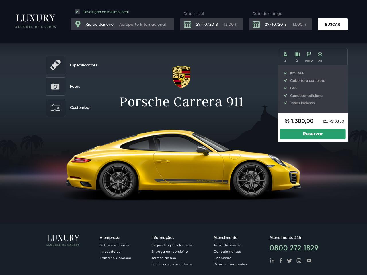 Luxury Car Rental Concept - Car page clean rental service dark porsche ui car