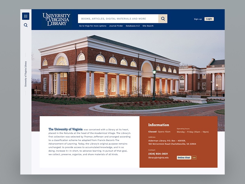 University of Virginia Library Website Redesign school study college university education website landing page education ui
