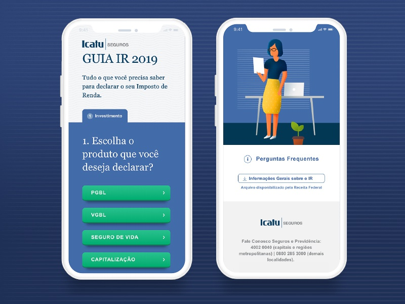 Guia IR Icatu Seguros tax survey illustration character iphone phone website android ios responsive website responsive mobile finance ui