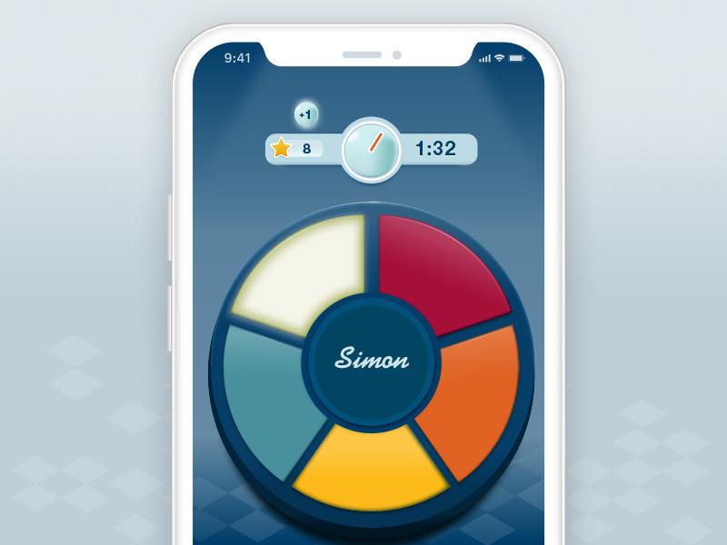Simon Game UI app phone ux iphone android ios mobile simon concept game ui
