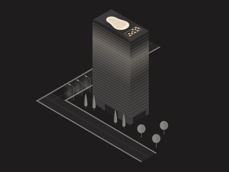 Isometric Illustration scene urban light dark city vector isometric illustrator illustration