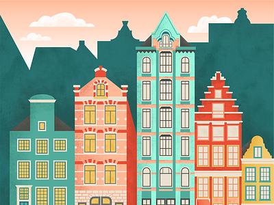 Amsterdam Illustration travel city texture colorful flat amsterdam illustration