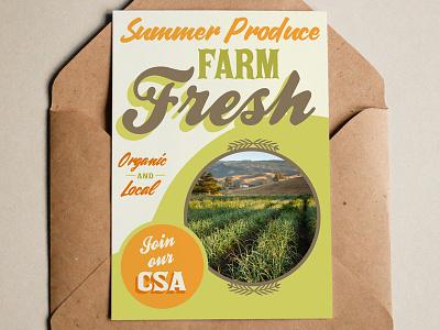 Farm Postcard agriculture summer type typography retro vintage natural farm postcard