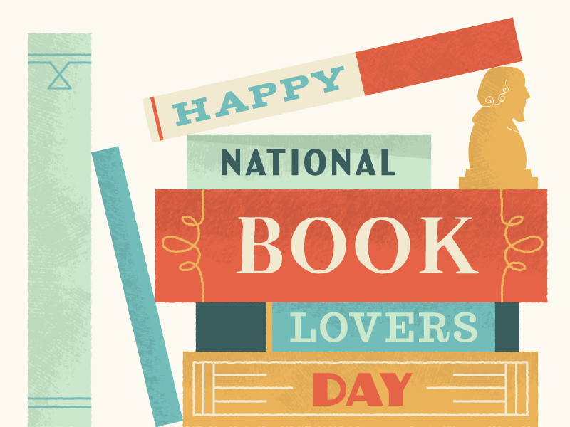 Happy National Book Lovers Day vintage texture reading books