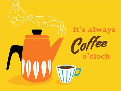 Coffee o'clock illustration 1960s kitchen retro coffee