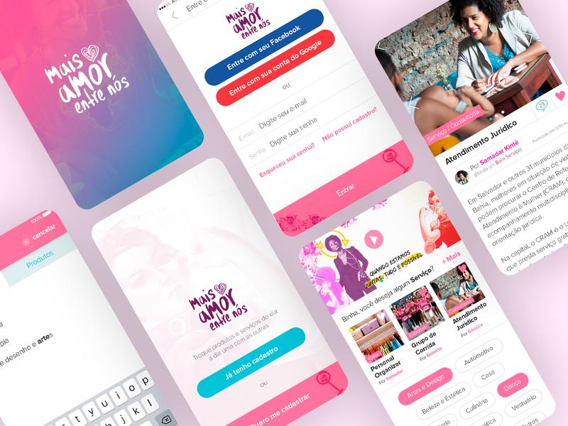 Mais Amor entre Nós App UX/UI Design - 2018 illustration managment mobile ui uxdesign responsive design photoshop adobexd grids ui design design art direction