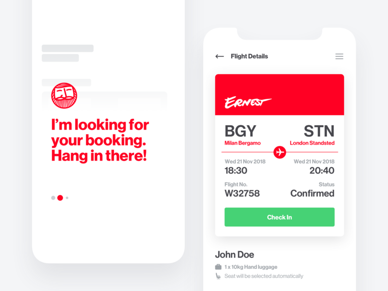 Ernest ― Fly with style ui rwd mobile airline boarding booking ticket flight