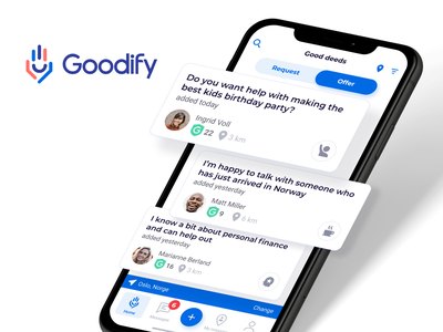 Goodify - Become a superhero today! design android iphone support help ui ux helping good will good vibes good deeds
