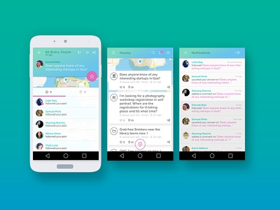 Pinchat - New Messaging App on Android ui app blue green gradient icon material design ux