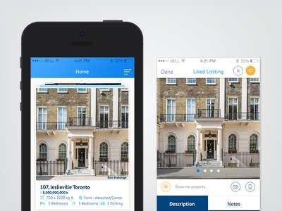 New property iOS App we are working on ios property blue icon flat design gradient realtor mobile app