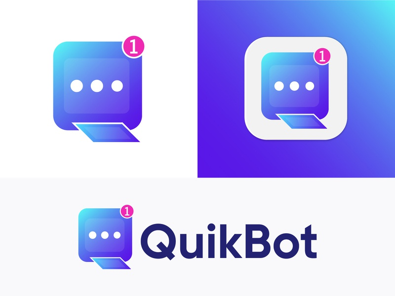(Q+Message) - QuikBot Logo Design abstract logo letter logo colorful logo message app brandidentity q letter logo logo designer logodesign logo logo and branding symbol monogram logo branding design lettermark modern logo brand identity branding and identity chat app chatbot branding agency