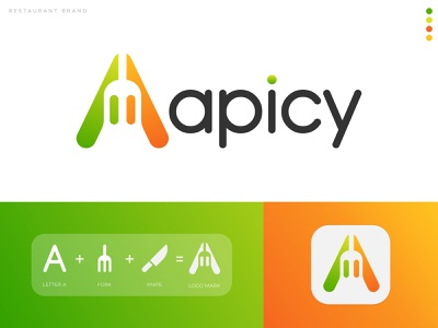 Apicy Restaurant App Logo (Update) logo trend logo mark logo folio logo trends 2020 fork abstract logo restaurant logo abstract logo designer gradient logo 2d food app food logo branding and identity lettermark monogram logo logo and branding brand identity modern logo branding agency
