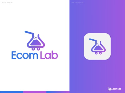 Ecom Lab E-Commerce Logo logo mark logo trends 2021 negative space logo shopping cart online store commerce medical logo adobe illustrator creative logo logo design logo designer monogram logo branding and identity logo and branding branding agency modern logo brand identity agency logo ecommerce logo ecommerce